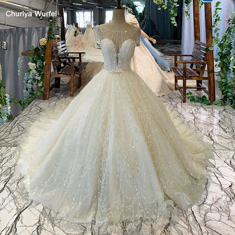 LSS038 Elegant Ivory Wedding Dress O-neck Short Sleeve Lace Up Back Ball Gown Bridal Wedding Gown China Online Shop Wholesale