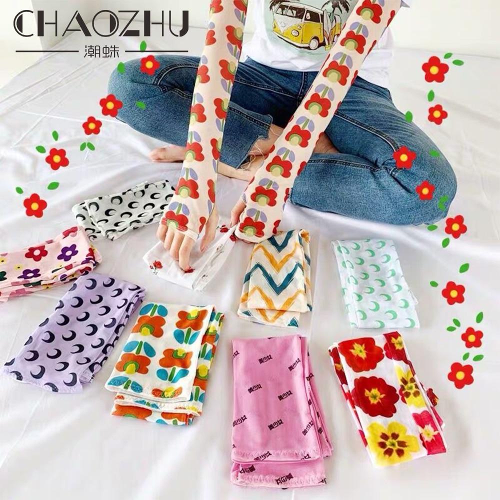 CHAOZHU Korea Ins Fashion Nova Woman Tattoo Sleeve Arm Gloves Douille Manga Guantelete Thin Summer Anti-mosquito Sunscreen Bands