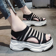 2020 New ladies muffin thick bottom casual fish mouth sandals female Korean version of wild breathab