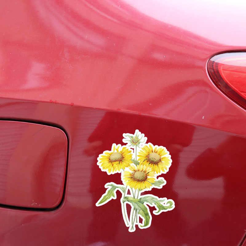 Aliauto belle tournesol décor voiture autocollants personnalisé fleurs décalcomanie pour Nissan Benz Toyota Chevrolet Bmw E46 E39, 11*14CM