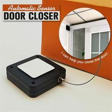 Door-Closer Artifact Sliding-Door Buffer Drawstring Closing-Spring Household Handy Punch-Free