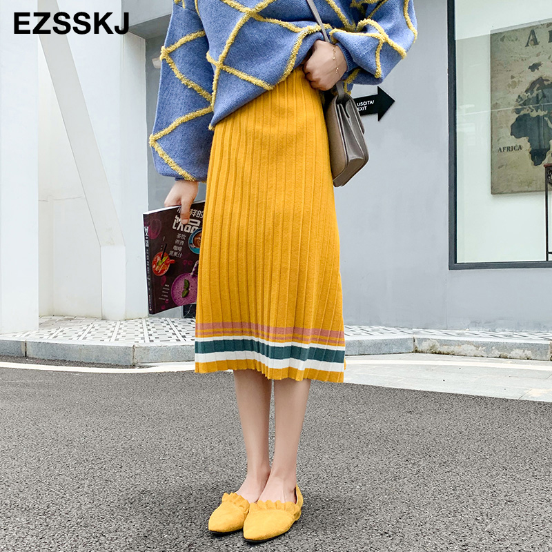 2019 autumn winter elastic waist pleated sweater skirt women hit color strip knit skirt female casual new thick skirt-in Skirts from Women's Clothing