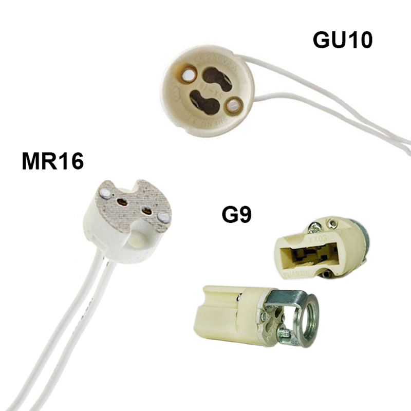 1/5/10pcs Lot Base Socket Holder MR16 GU10 G9 Wire Connector Bulb 15cm 20cm LED Strip GU5.3 G4 Halogen Fitting Ceramic Lamp LED