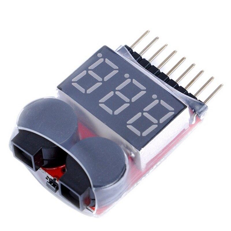 Digital Voltage Monitor 1-8S Lipo/Li-ion/Fe Battery Voltage 2IN1 Tester Low Voltage Buzzer Alarm 3.7-30V 40x25x11mm