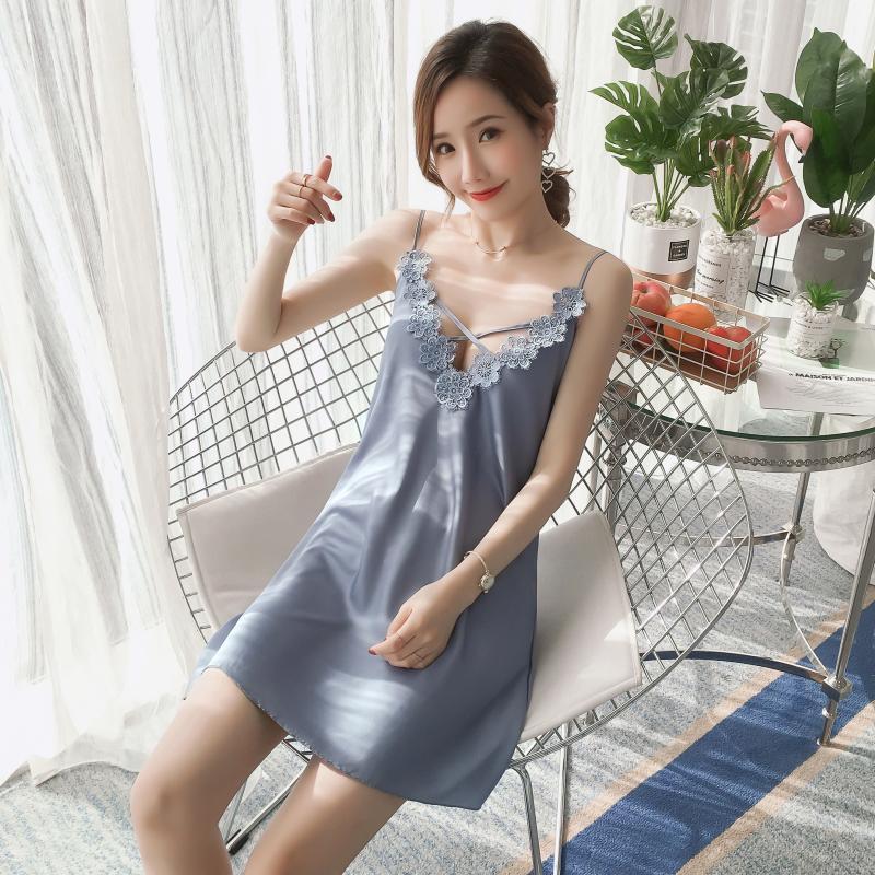 2019 Pajamas Female Spring Summer Model Silk Sweet Korean-style GIRL'S-Slip Nightdress Viscose Home Wear