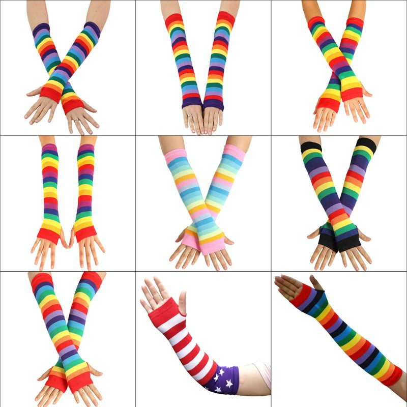 Women Girl Knitted Over Elbow Long Arm Warmers US Flag Rainbow Stripes Patchwork Fingerless Gloves With Thumb Hole Party Costum