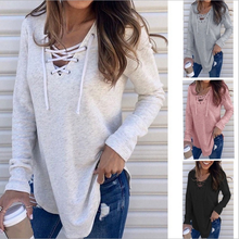 Womens V-Neck T-shirt Casual Sweater Lace-up Long Sleeve Tops Jumper Pullover plus lace up jumper