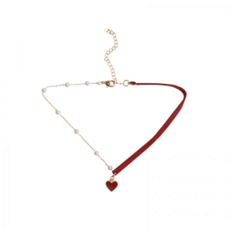 2019 nowy koreański wersja z krótkim małe czerwone serce moda proste podkreślające temperament sieć czerwona miłość naszyjnik biżuteria hurtowych