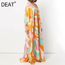 Bohemian-Dress Batwing-Sleeve Silk Gold-Print DEAT Elegant Floor-Length Women New Autumn