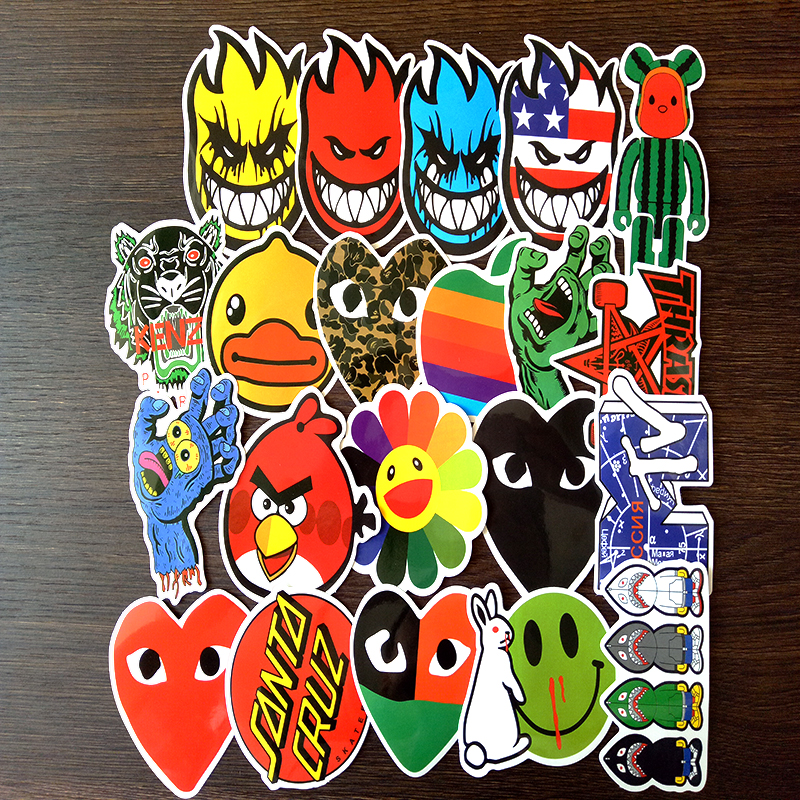 Image 2 - 100 PCS Skateboard Fashion brand Logo Waterproof Sticker For Luggage Car Guaitar Skateboard Phone Laptop Stickers-in Stickers from Toys & Hobbies