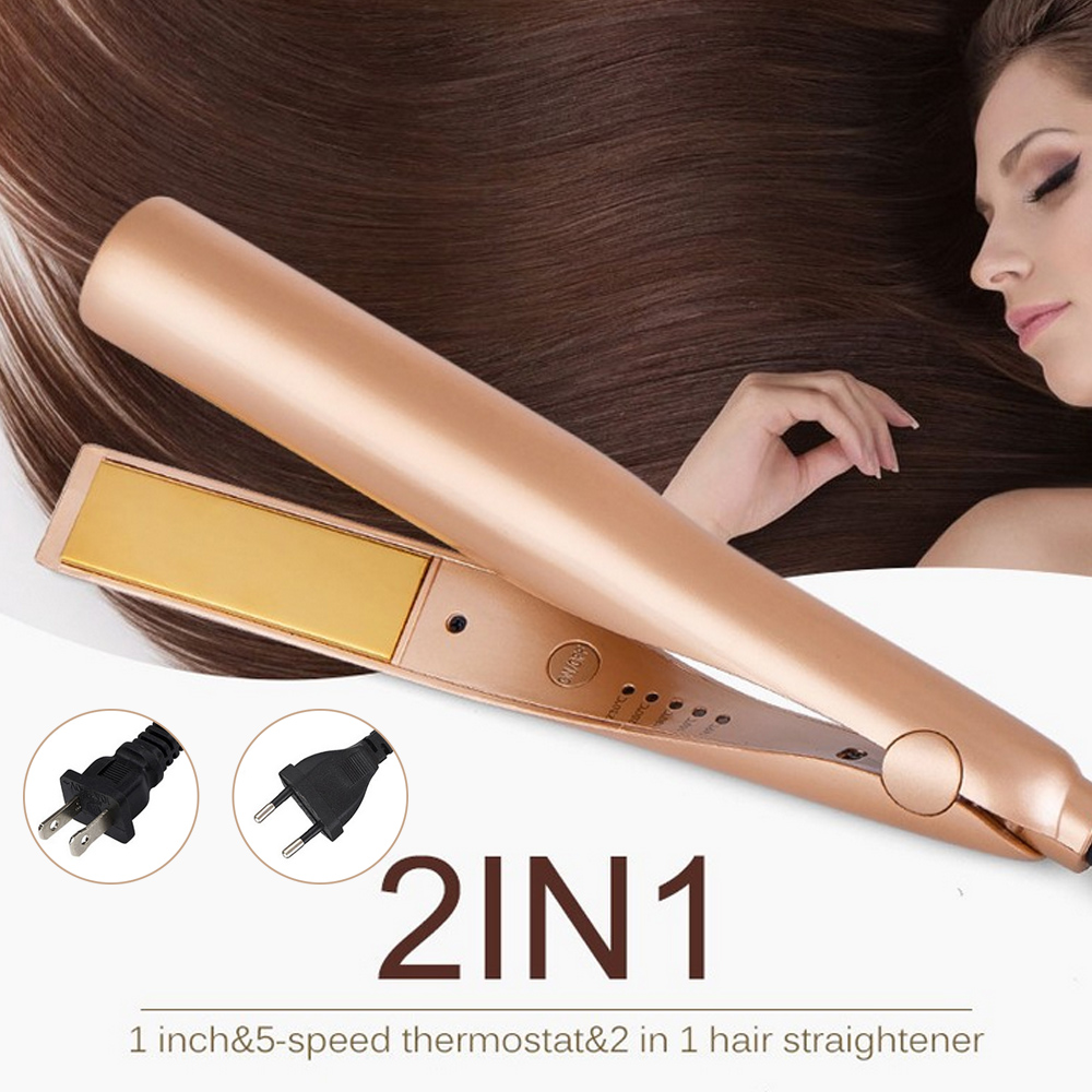 2 In 1 Adjustable Temperature Hair Curling Curler Wand Roller Hair Curling Iron Straightening Machine Hair Curler Styling Tools