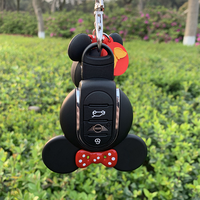 3D Mini Cooper S JCW keychain Cute Miky Key Ring cover for Mini Cooper S JCW One F54 F55 F56 F60(China)