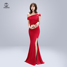 Skyyue Evening Dress Boat Neck Women Party Dresses Off The Shoulder Robe De Soiree 2019 Plus Size Solid Split Formal Gowns C083