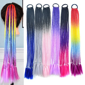 GAKA Colored Long Synthetic Braiding Ponytails for Women 60CM Coiling Pony Tail Extension Straight Piano Color High Tempreture