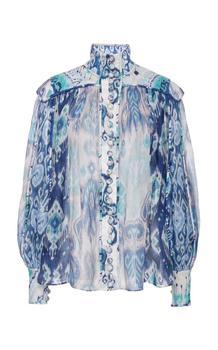 Zim Australian diseño de lino azul de impresión de lino 2020 camisa de cuello alto New York Moda Show