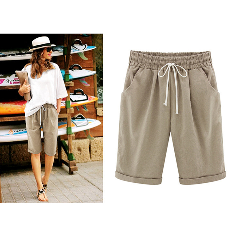 Women's Linen Summer Casual Shorts Ladies Holiday Shorts With Pockets Loose Summer Casual  Five Shorts Thin Section 2019 New