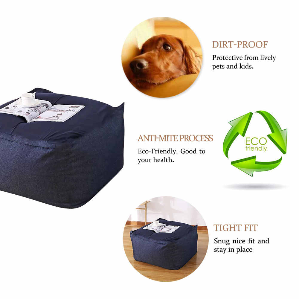 Lazy Bean Bag Sofas Cover Chairs without Filler Linen Cloth Lounger Seat Pouf Puff Couch Tatami Living Room