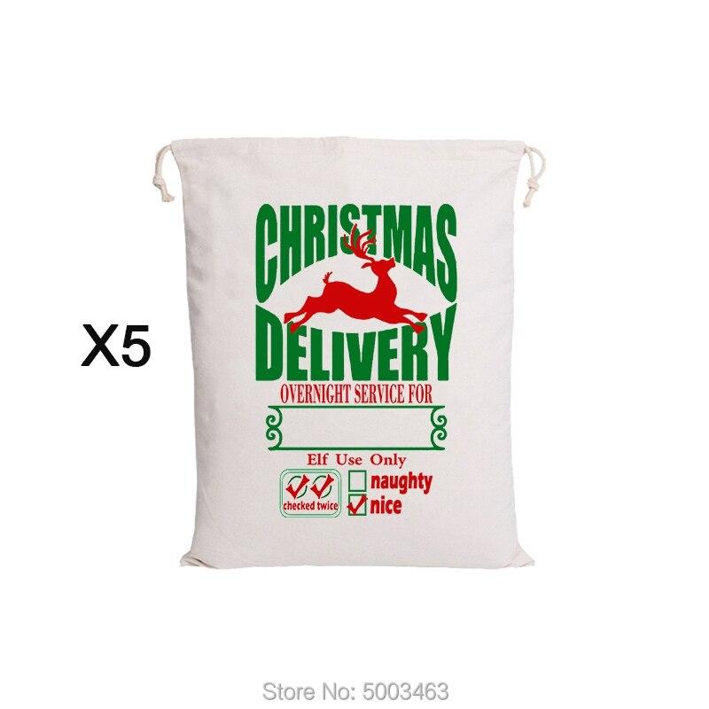 Santa Gift Bags 20pcs/lot Wholesale Christmas Bag Festive Party Kids Supplies Canvas Bags Christmas Decorations Toy Sack