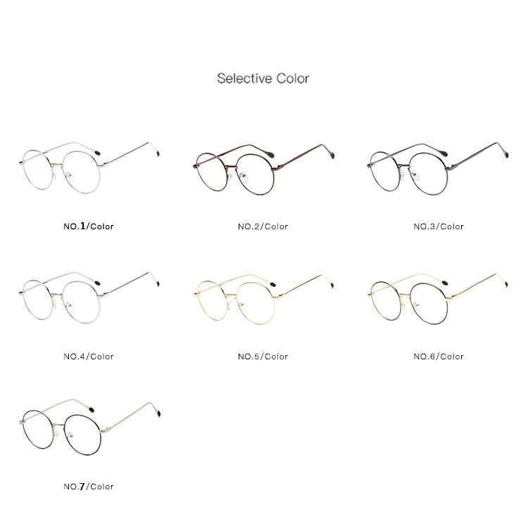 New Man Woman Retro Round Glasses Transparent Metal Eyeglass Frame Black Silver Gold spectacles Eyeglasses in Men 39 s Eyewear Frames from Apparel Accessories