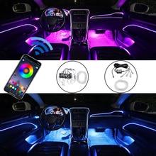 شريط إضاءة داخلي للسيارة ، RGB ، EL ، 8 أو 5 أمتار ، ضوء المحيط ، التحكم في التطبيق ، لوحة القيادة ، بلوتوث ، ضوء الباب