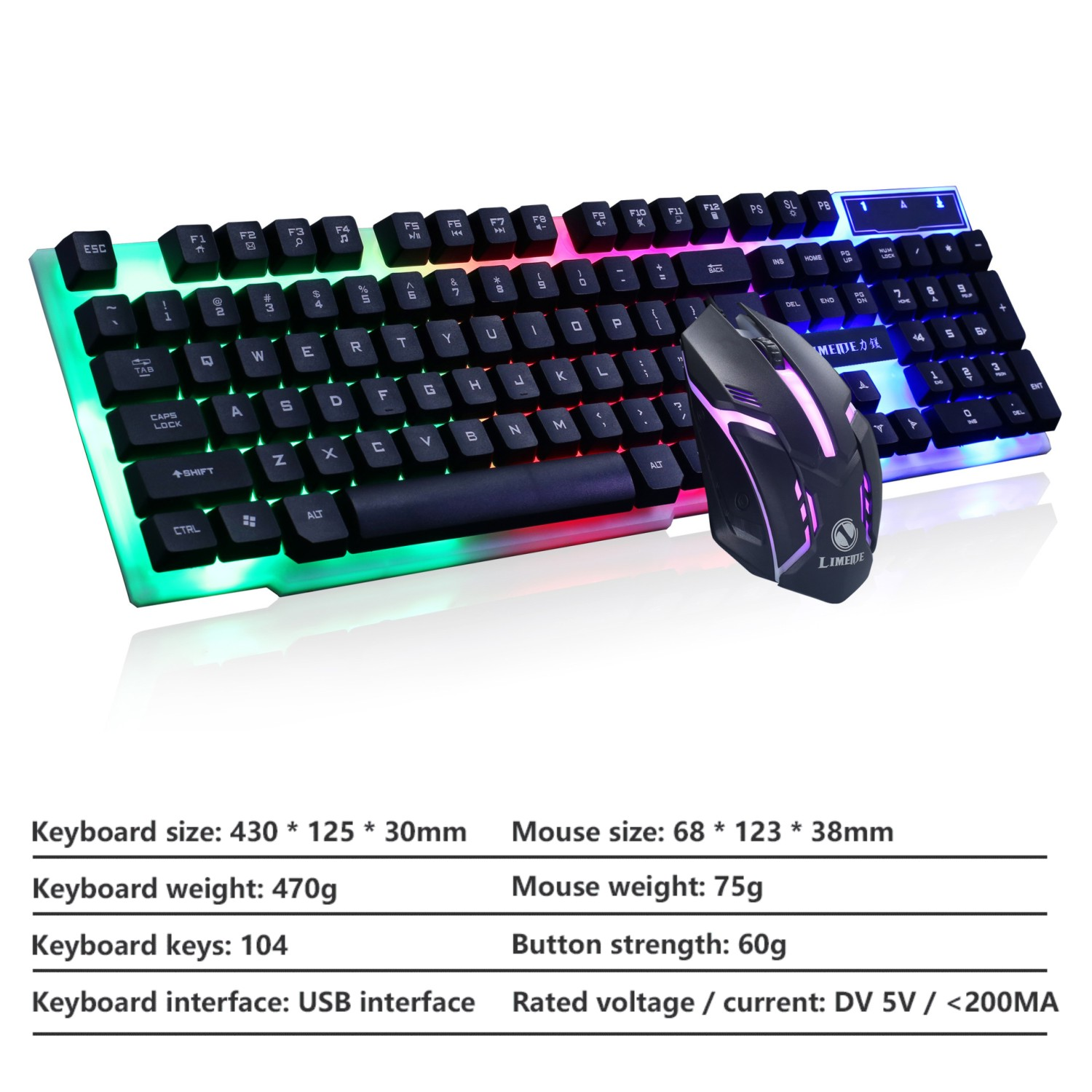 Gaming Keyboard and Mouse Set Gamer Mouse Keyboard Combo Kit LED luminous Backlit USB Wired Mouse and Keyboard For Desktop PC