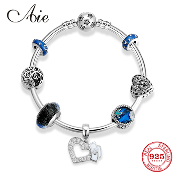 925 Sterling Silver nurse with Blue glass beads pendant Charm Bracelets Finished product for Fashion fine DIY Jewelry 2019