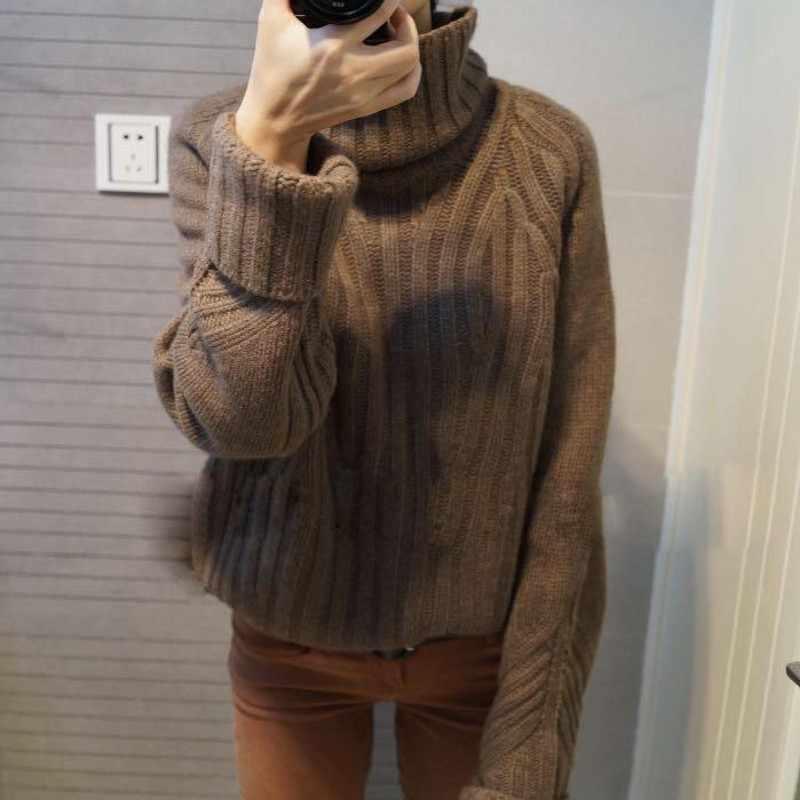 높은 품질의 여자 양모 터틀넥 스웨터 겨울 두꺼운 긴 소매 여자 탑스 느슨한 맞는 톱 브랜드 컴포트 레이디 풀 오버