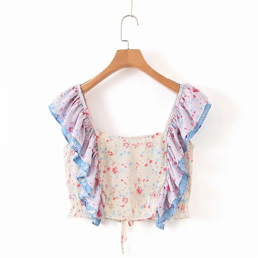 2019 New Flower Print Two Piece Set Top And Skirts V Neck Ruffles Button Tops Asymmetrical Skirts Vocation Sexy Chiffon Sets in Women 39 s Sets from Women 39 s Clothing