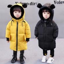 Dzieci dziewczyny zimowe puchówki moda dla dzieci maluch chłopcy z długim rękawem z kapturem niedźwiedź ucha dół płaszcze dla dzieci niemowlę ciepła odzież puchowa tanie tanio Octan 0 55KG CN (pochodzenie) COTTON Stałe long Hooded bear ear 20C-00129 zipper REGULAR Unisex Pasuje prawda na wymiar weź swój normalny rozmiar