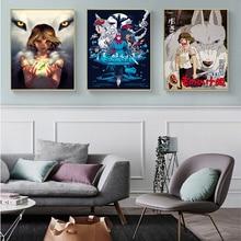 Mononoke Hime Home Decor Poster Pictures Prints Canvas Movie Living Room Art Decorative Painting