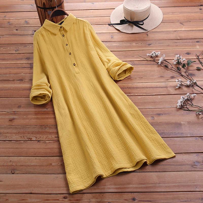Mode automne revers cou longue chemise robe ZANZEA femmes à manches longues boutons coton lin robe de soleil décontracté travail en vrac OL Vestido