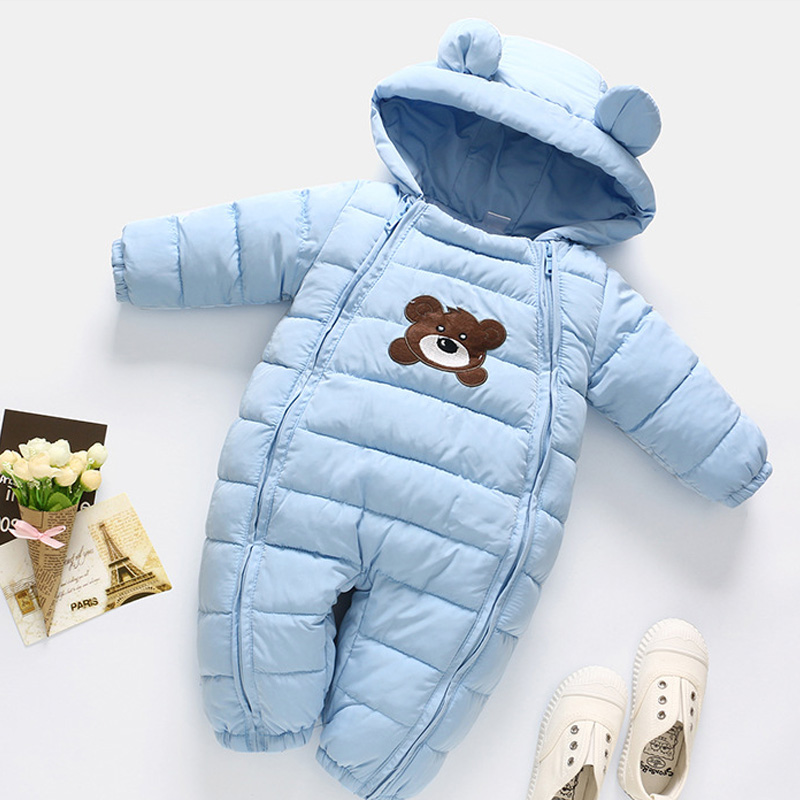 Winter Newborn Baby Girl Clothes Jumpsuit Warm Boys Snowsuit For Girls Hooded Overalls Coats For Children Unisex Baby Romper
