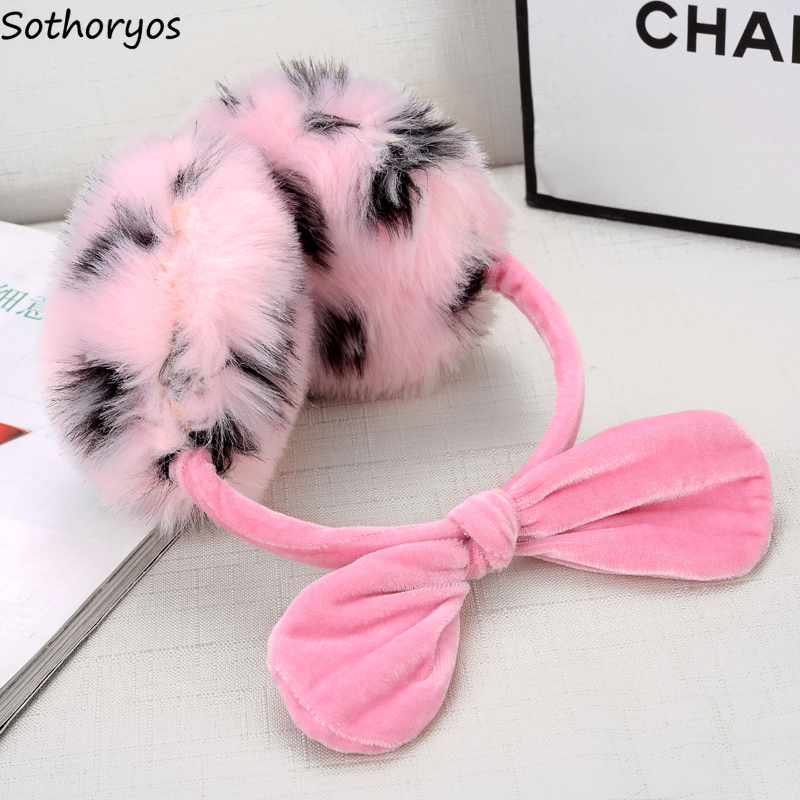 Earmuffs Women Solid High Quality Korean Style Casual Soft Warm Autumn Students Harajuku Kawaii Womens Bow Winter Accessories