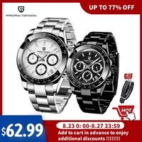 2021 yeni PAGANI tasarım en iyi marka erkek spor kuvars saatler safir paslanmaz çelik su geçirmez Chronograph lüks Reloj Hombre