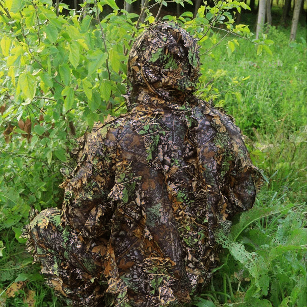 Leafy Poncho Jungle Ghillie Suits Hunting Camouflage Clothes 3D Bionic Leaf Yowie Mesh For Hunting Add Uttons More Convenient