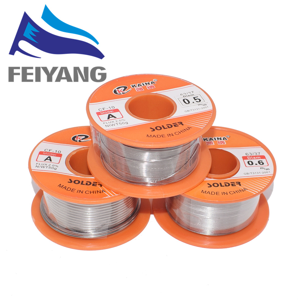 1PCS 0.6/0.8/1/1.2/1.5MM 63/37 FLUX 2.0% 45FT Tin Lead Tin Wire Melt Rosin Core Solder Soldering Wire Roll For Diy