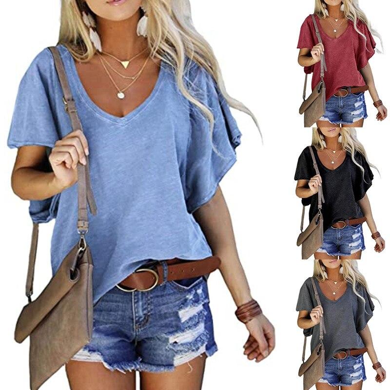 2021 novo verão camisetas femininas com decote em v algodão solidcolor manga curta casual solto pius tamanho femmel camiseta