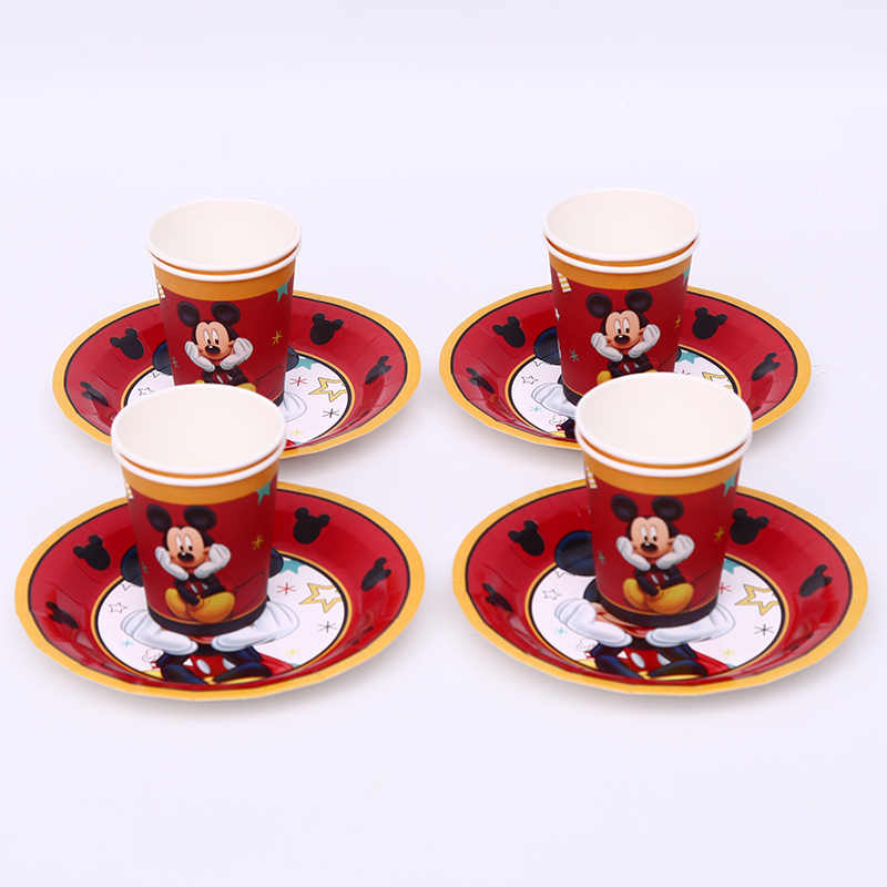 12pcs red Mickey Mouse 6 people party supplies children's birthday disposable cups and plate sets