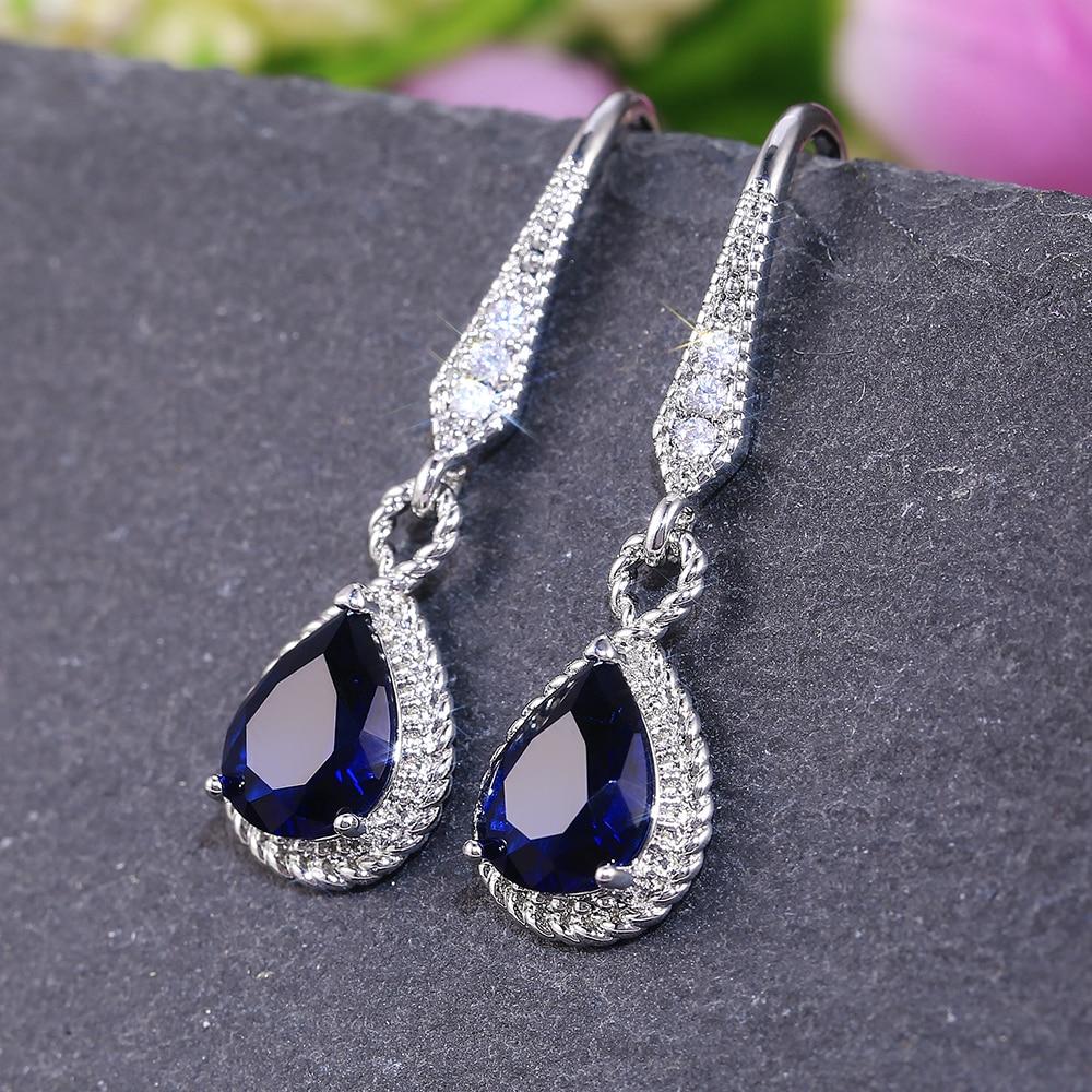 Huitan-pendientes azules con forma de gota de agua para mujer, delicados aretes de aniversario de boda, fiesta nocturna