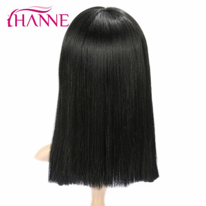 Image 4 - HANNE Schwarz Medium Perücken für Schwarze Frauen Gerade Perücke Mit Pony African American Natürliche Synthetische Haar