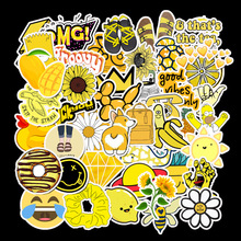 50Pcs Yellow small fresh Sticker Pack Vinyl Waterproof Trendy Water Bottle Laptop Stickers Decal Graffiti Patches