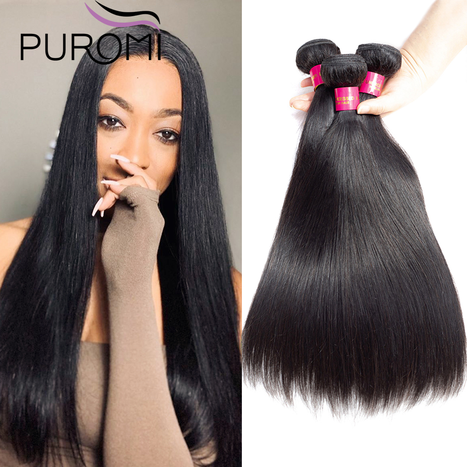 Puromi Straight Hair Weave Bundles 100% Human Hair Bundles Indian Non-Remy Hair Natural Color Hair Extensions Free Shipping
