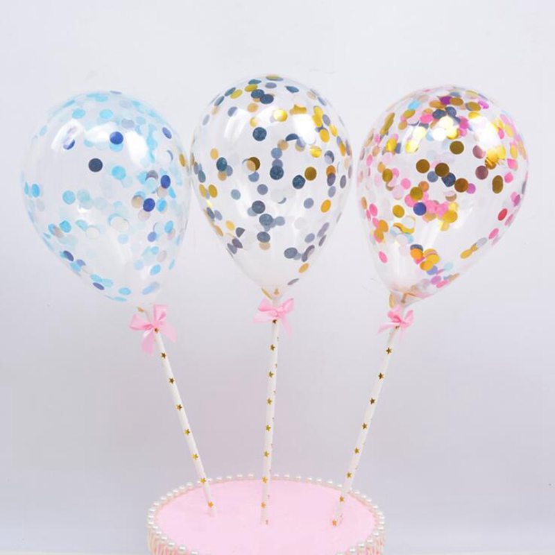 5 Inch Rose Gold Multi Confetti Balloon Cake Toppers Mini Latex Balloon Craft For Cake Toppers Birthday Cake Wedding Decoration