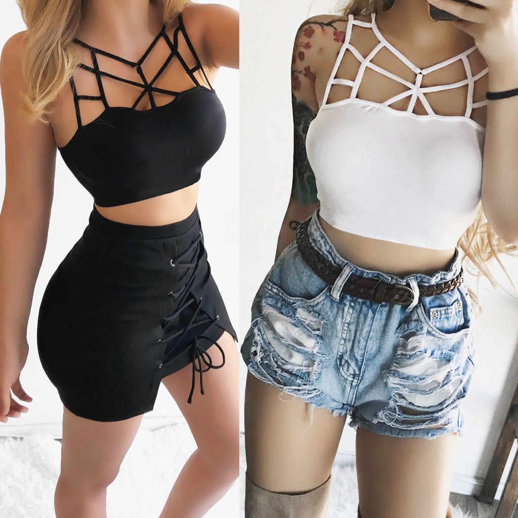 Sexy Vrouwen Camis Mouwloze Hollow Out Zomer Vest Bustier Unpadded Bandeau Bra Casual Tank Tops Vrouwelijke Blouse Shirt Crop Top