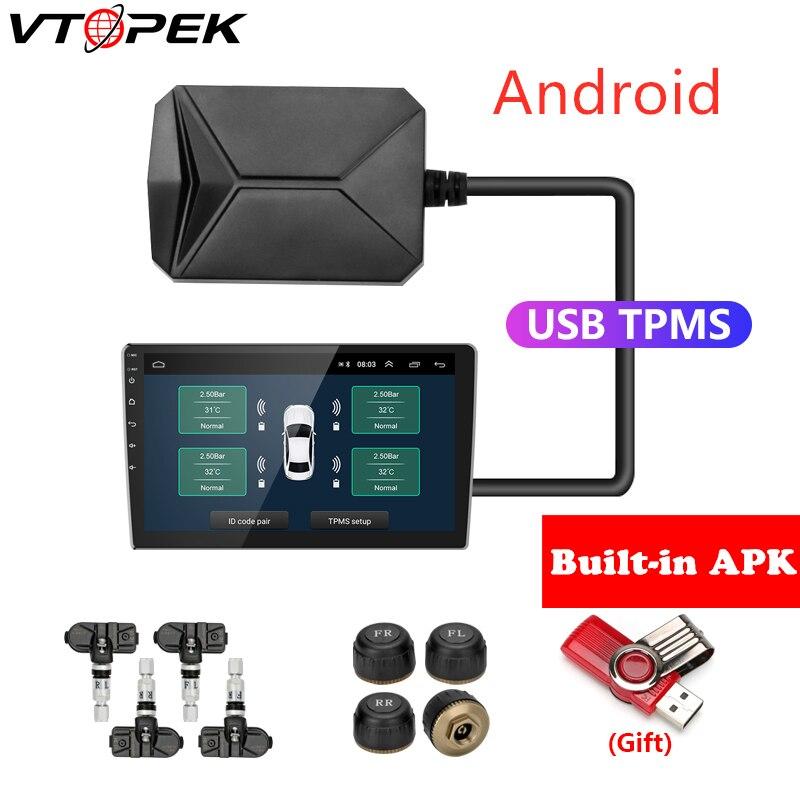 USB Android TPMS système de surveillance de la pression des pneus système d'alarme d'affichage 5V capteurs internes Android Navigation autoradio 4 capteurs
