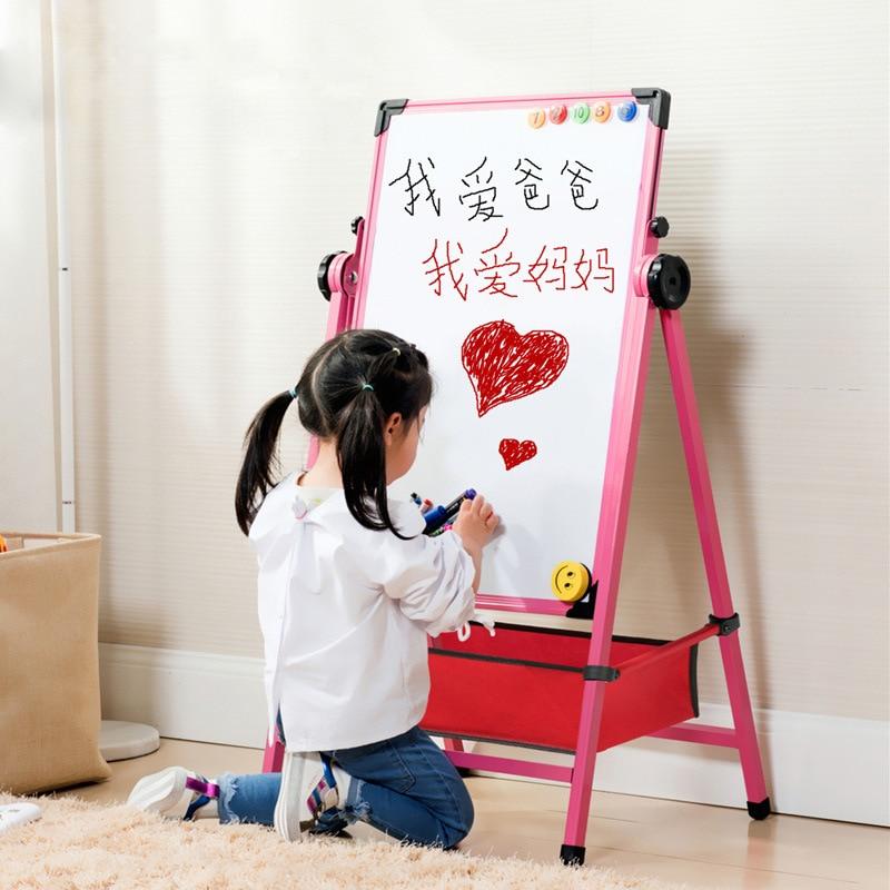 CHILDREN'S Drawing Board Alloy Easel Magnetic Drawing Board Braced Adjustable Small Blackboard Household Baby Graffiti White Boa