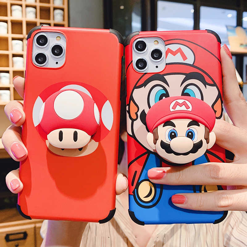 Voor Iphone 11Pro Cartoon Super Mary Paddestoel Hoofd 3D Handvat Beugel Siliconen Soft Cover Voor Iphone Max Xs Xr 7 8 Plus Telefoon Case