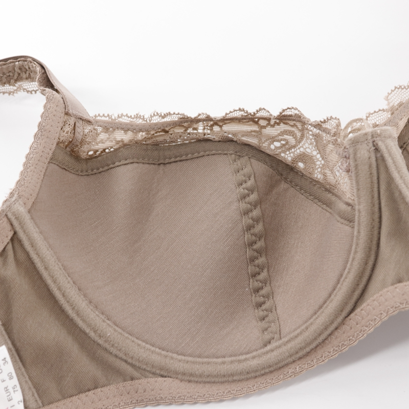 Image 3 - Trufeeling Cotton Lined Plus Size Sexy Bra DD E DDD F Cup Floral Lace Emboridery Perspective Comfortable Underwear for Women-in Bras from Underwear & Sleepwears