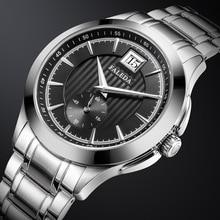רטרו Mens עסקים שעונים ספיר למעלה יוקרה מותג קוורץ שעון גברים מקרית נירוסטה עמיד למים שעון Relogio Masculino