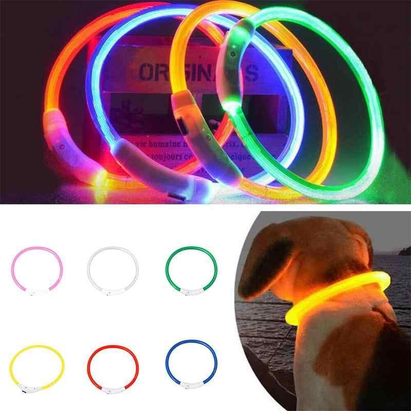 gatas Tama/ño S-L se Puede Cortar Individualmente a 18-65 cm Mascotas LED USB Silic/ón Collar Luminoso para Perros en Naranja de la Marca PRECORN Recargable v/ía USB